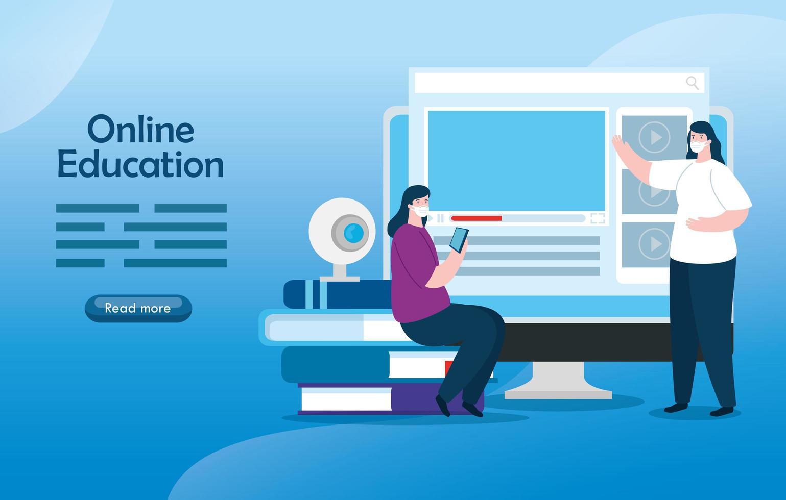 mulheres de tecnologia de educação online com computador vetor