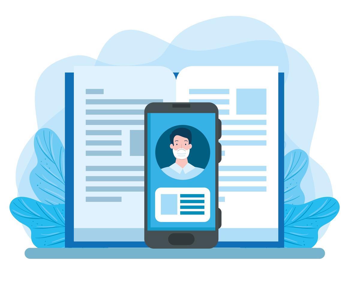 tecnologia de educação online com smartphone e livro vetor