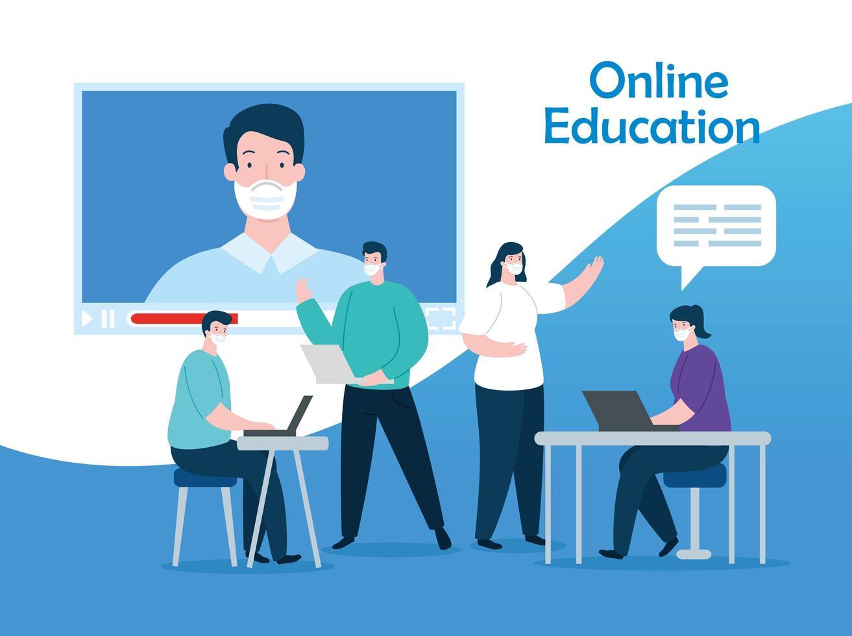 grupo de pessoas na educação online vetor