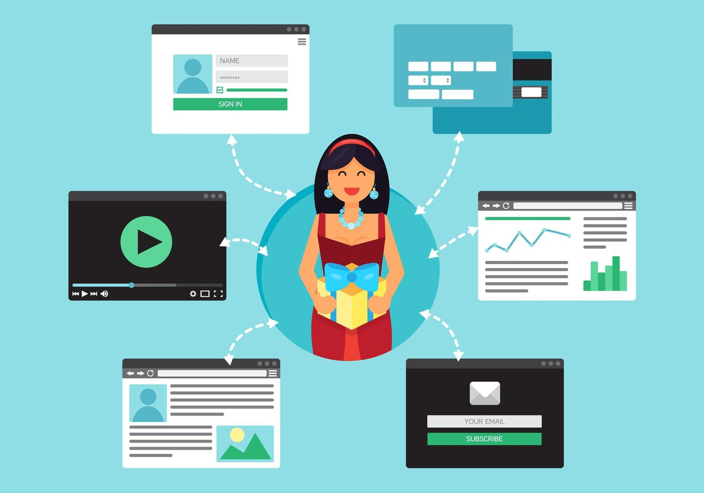 rede virtual socail da web vetor