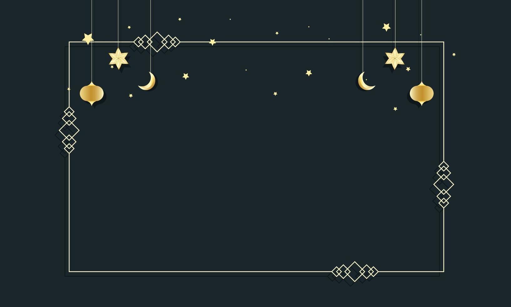 convite de modelo com borda de quadro ramadan kareem. ilustração em vetor cartão convite modelo