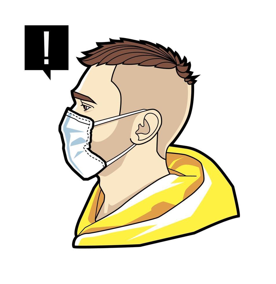 rosto de homem em máscara respiratória vetor