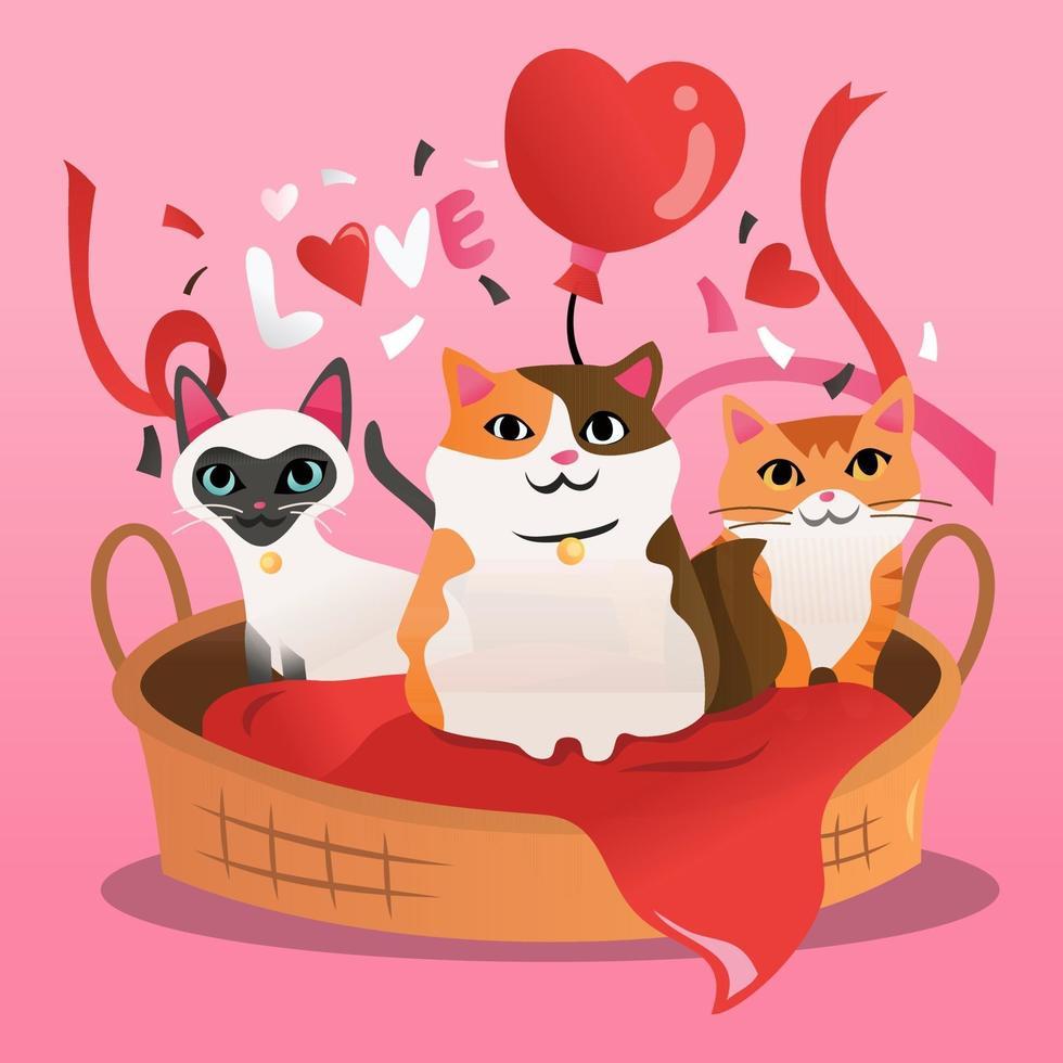 desenho animado gatinhos gato cama presente vetor
