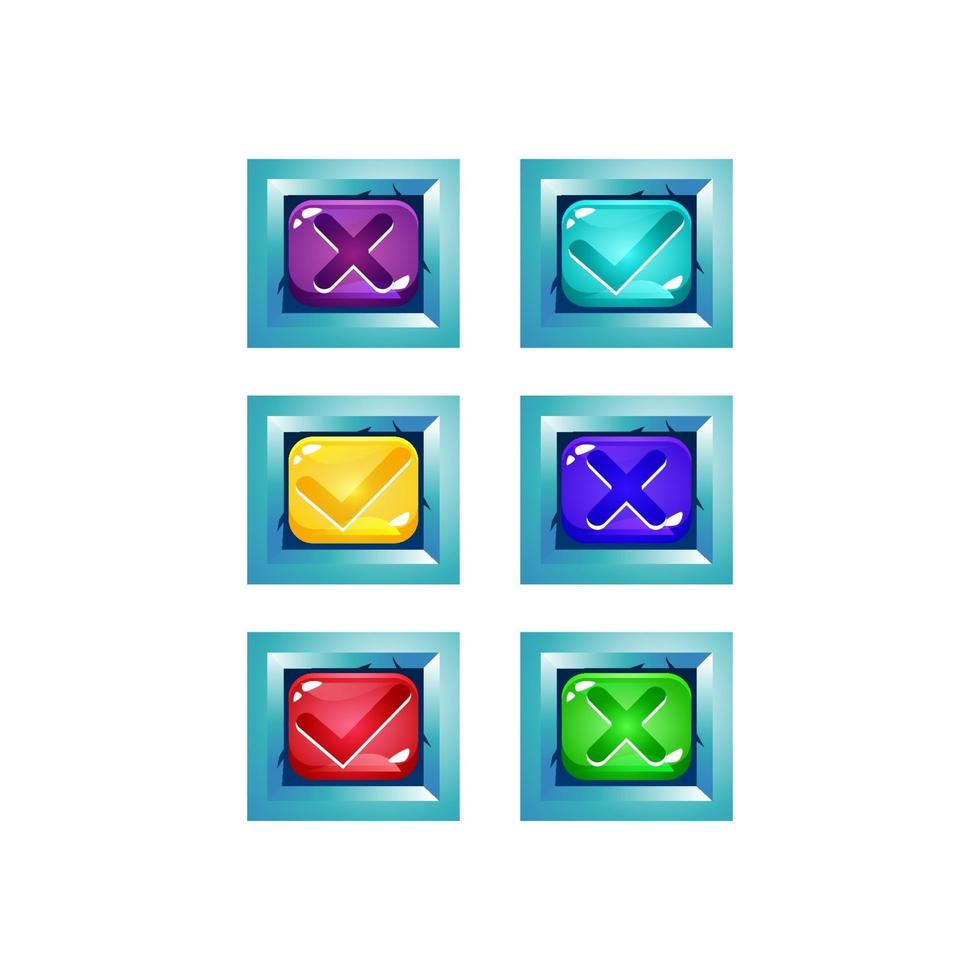 conjunto de interface do usuário do jogo de geléia colorida com borda brilhante de fantasia para ilustração vetorial de elementos de ativos de gui vetor