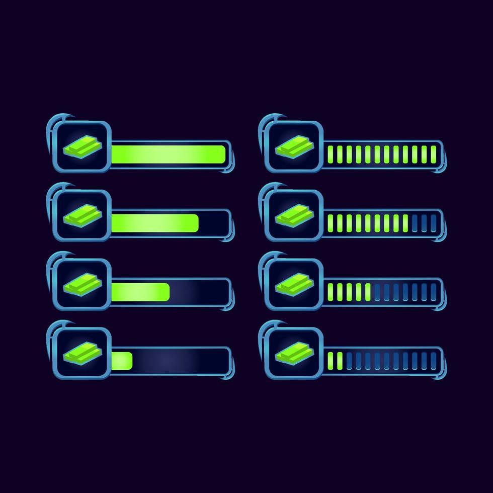 conjunto de gui fantasia rpg dólares barra de progresso de dinheiro para ilustração vetorial de elementos de ativos de interface do usuário do jogo vetor