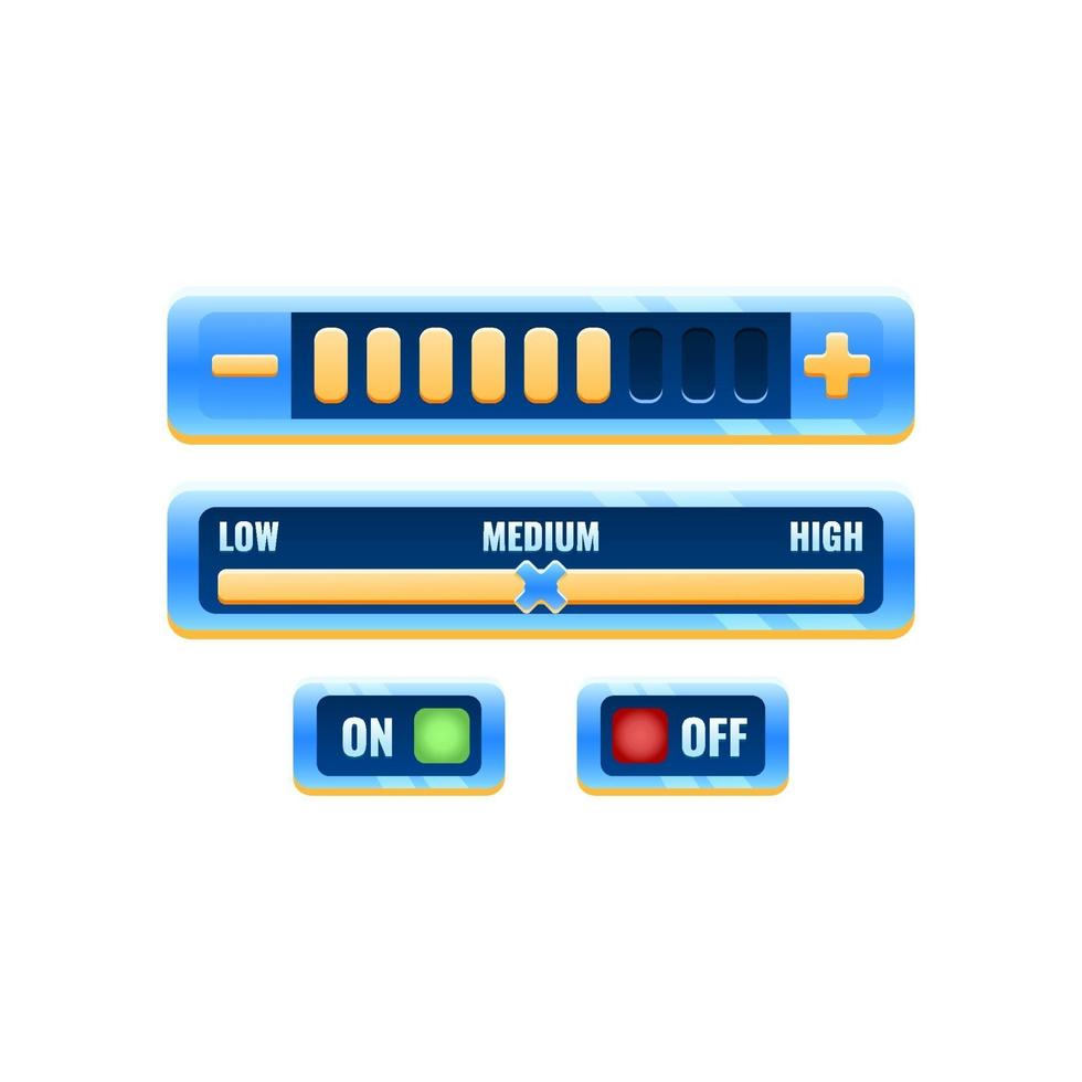 conjunto de painel de configuração de controle de interface do usuário do jogo fantasy blue space com botão liga / desliga e menu de progresso para elementos de recursos de interface do usuário vetor