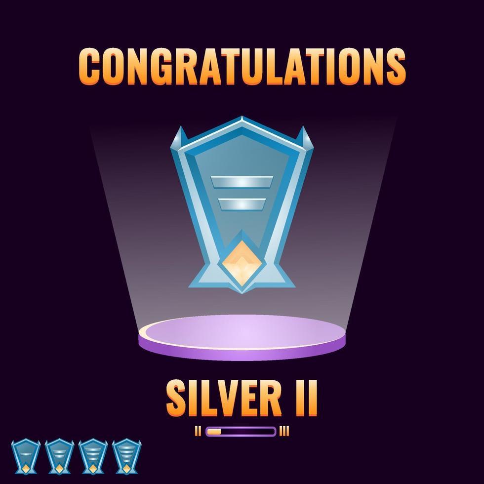 interface do jogo ui prata classificada de nível acima para ilustração do vetor de elementos de ativos da interface do usuário