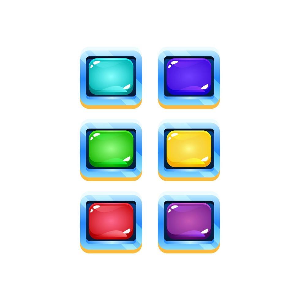 conjunto de interface do usuário de jogo de geléia colorida com borda de espaço de fantasia para ilustração vetorial de elementos de ativos de gui vetor