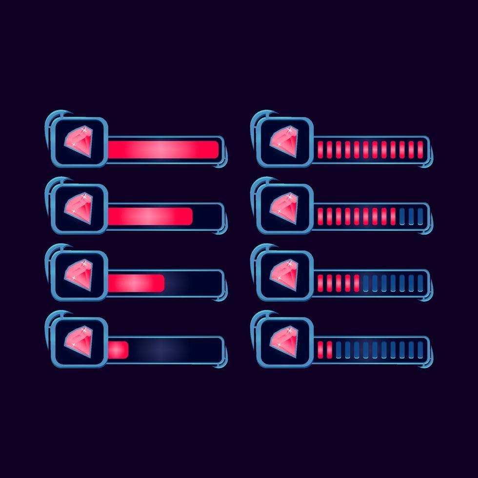 conjunto de gui fantasia rpg gemas barra de progresso de diamante para ilustração vetorial de elementos de ativos de interface do usuário do jogo vetor