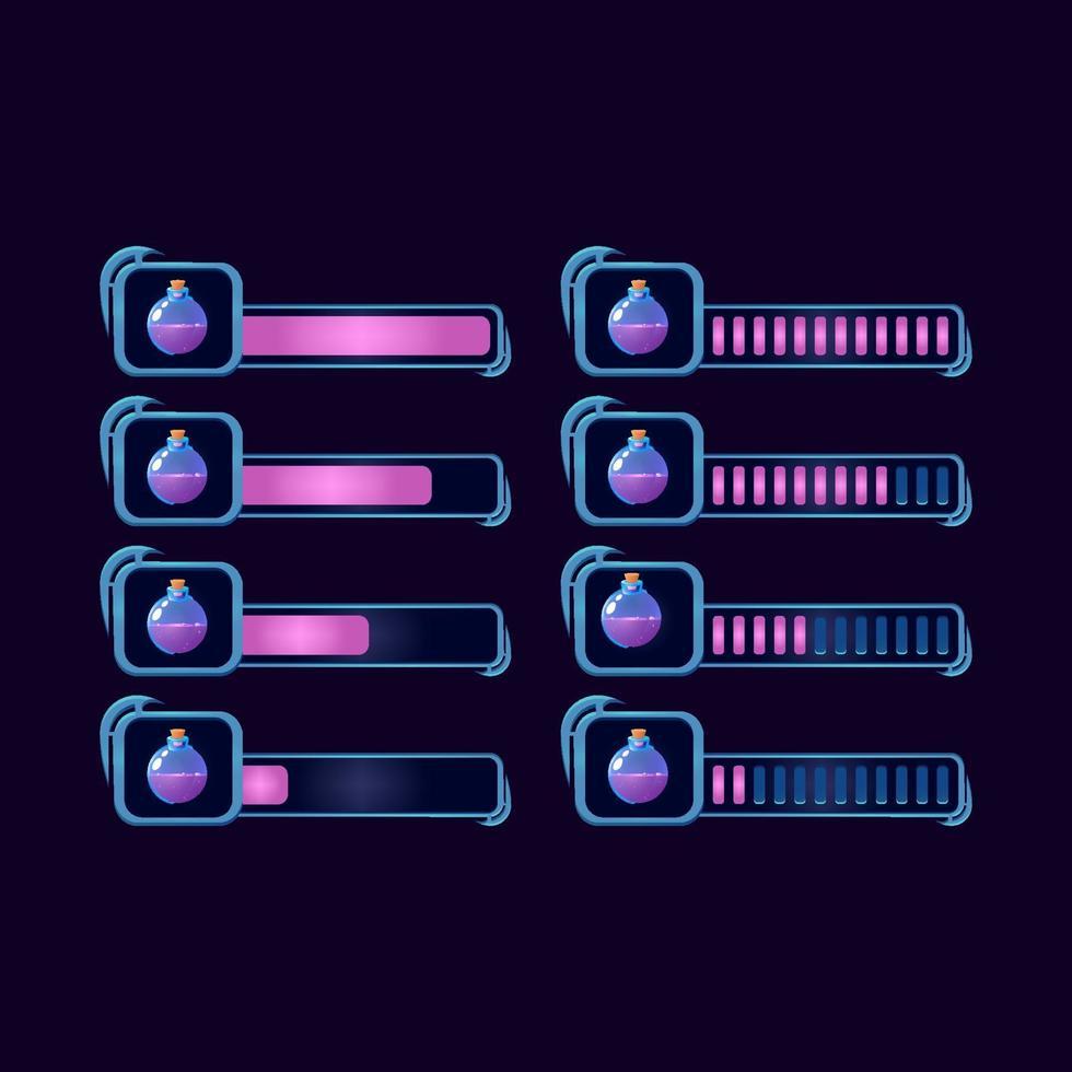 conjunto de gui fantasia rpg poção garrafa mágica barra de progresso para ilustração vetorial de elementos de ativos de interface do usuário do jogo vetor