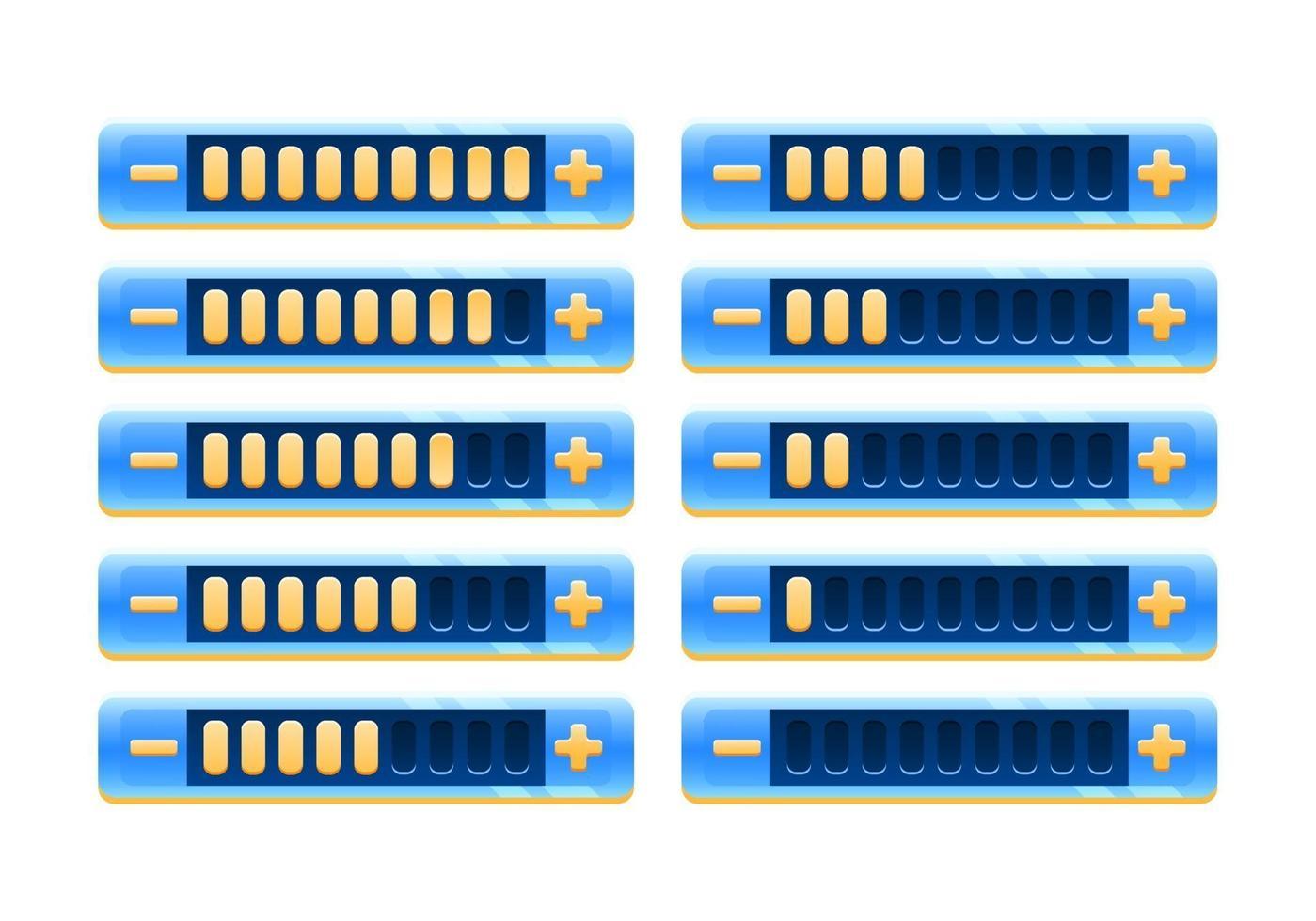 conjunto de painel de barra de progresso de interface do usuário de jogo brilhante fantasia com botão de aumentar e diminuir para ilustração de vetor de elementos de recurso de interface