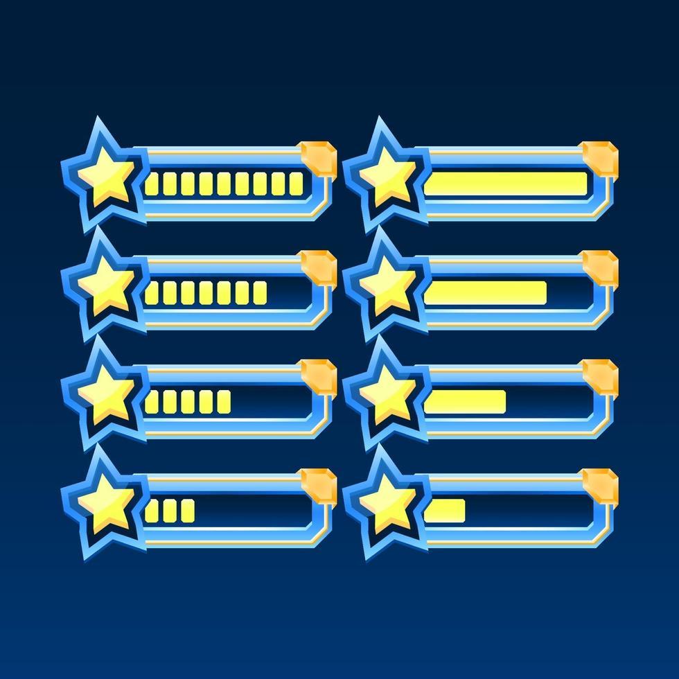 conjunto de fantasia brilhante com barra de progresso estrela da interface do usuário do jogo de canto dourado com 2 estilos diferentes para elementos de recursos de interface do usuário vetor