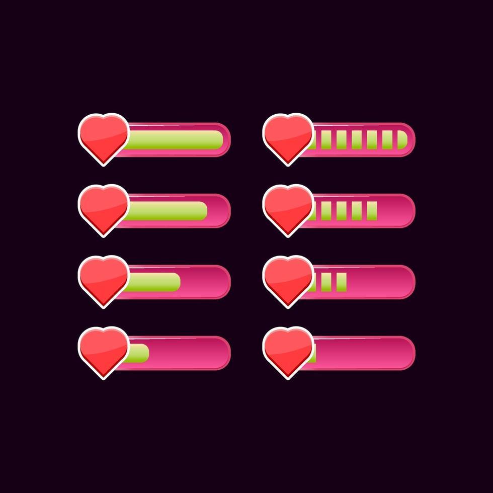 conjunto de barra de progresso de saúde da interface do usuário do jogo rosa casual vetor