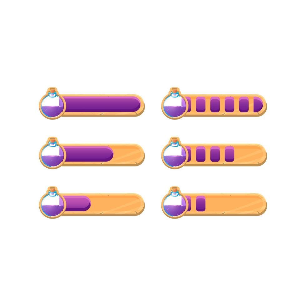 conjunto de barra de progresso de poção de interface do usuário de jogo de madeira engraçado com 2 estilos diferentes para elementos de recursos de interface vetor
