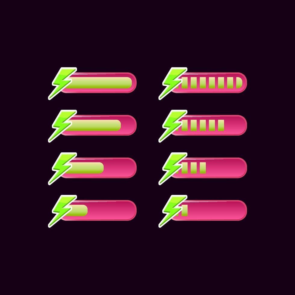 conjunto de barra de progresso de energia da interface do usuário do jogo rosa casual vetor