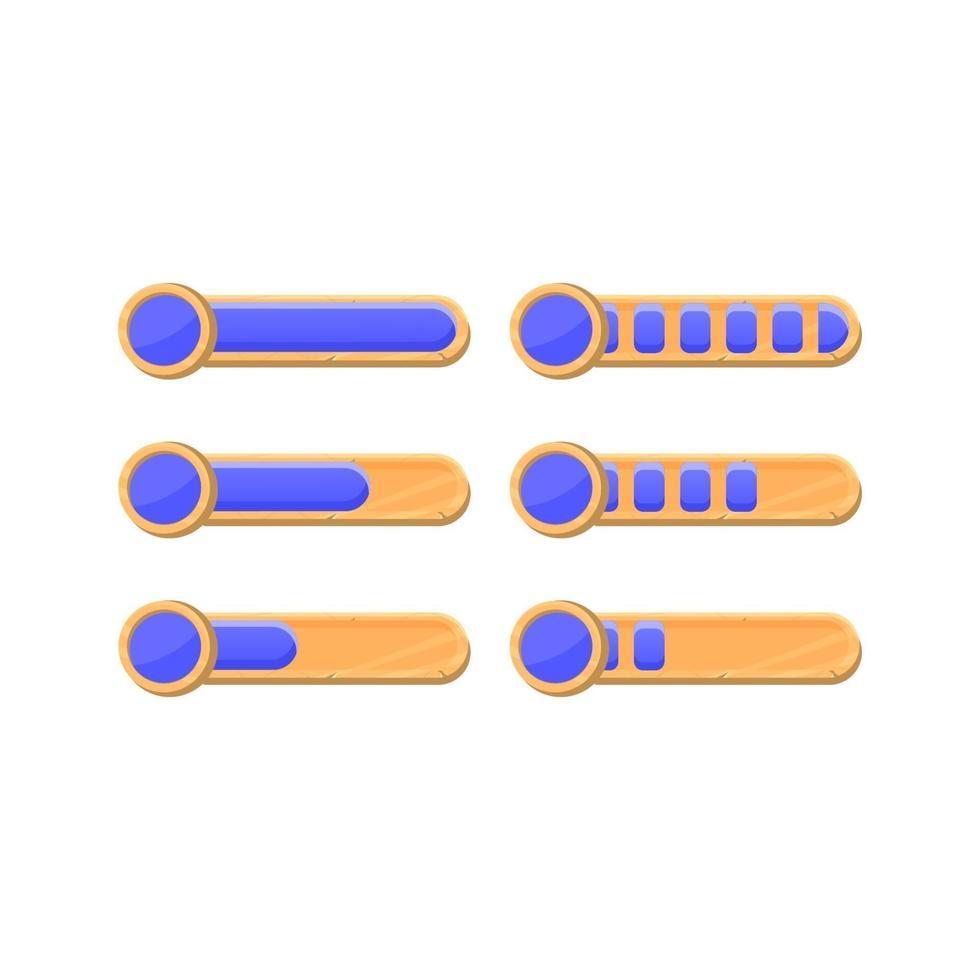 conjunto de barra de progresso de moedas de moeda da interface do usuário do jogo de madeira engraçado com 2 estilos diferentes para elementos de recursos de interface do usuário vetor