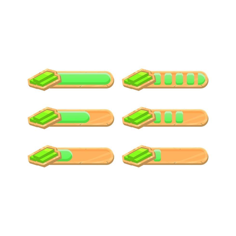conjunto de barra de progresso de dinheiro de jogo de madeira engraçado ui bucks com 2 estilos diferentes para elementos de recursos de gui vetor