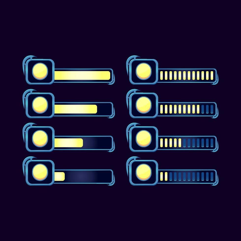 conjunto de gui fantasia rpg moeda moeda barra de progresso para ilustração vetorial de elementos de ativos de interface do usuário do jogo vetor