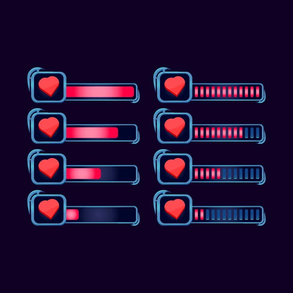 conjunto de gui fantasia rpg saúde vida barra de progresso para ilustração vetorial de elementos de ativos de interface do usuário do jogo vetor