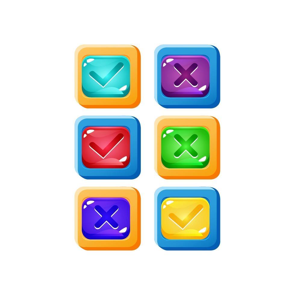 conjunto de interface do usuário de jogo de geléia colorida com borda engraçada para ilustração vetorial de elementos de recursos de gui vetor