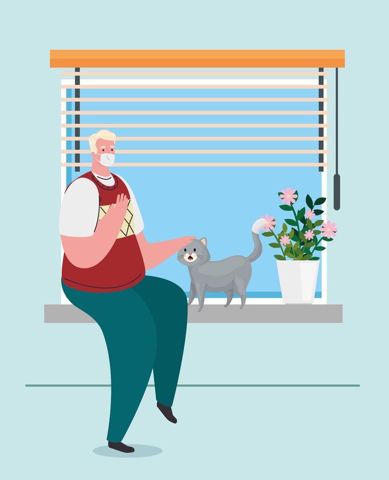 homem em quarentena em casa com um gato vetor