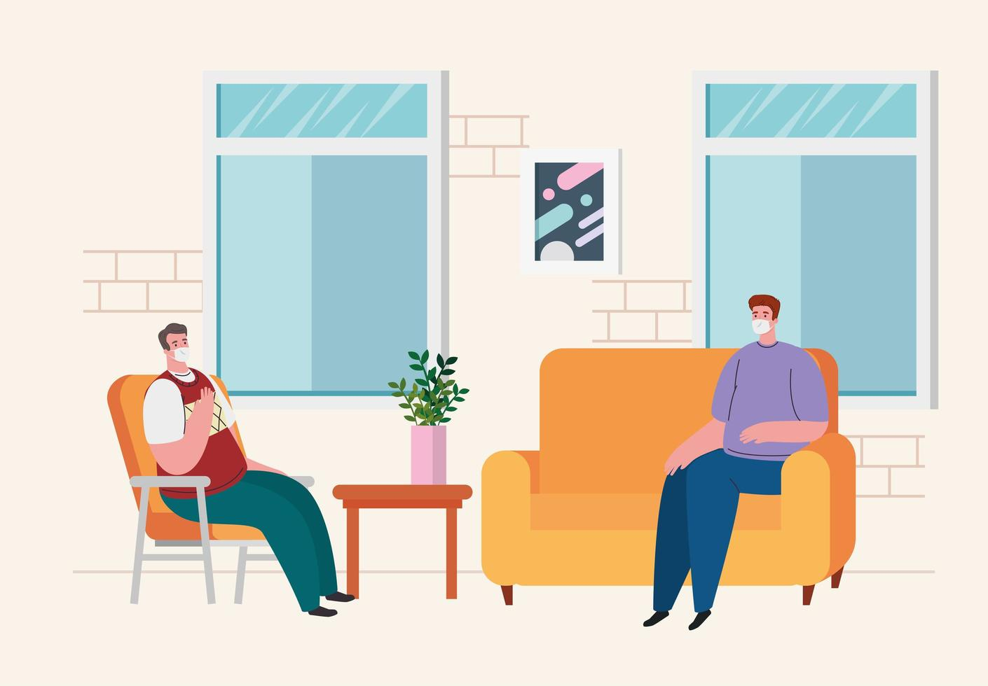 homens no sofá em casa para quarentena de coronavírus vetor