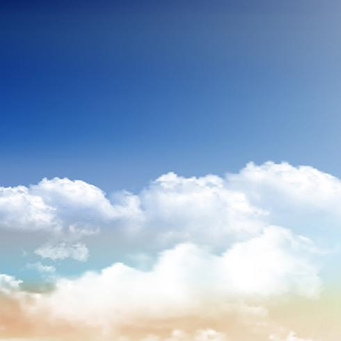 Nuvens realistas no fundo do céu azul vetor