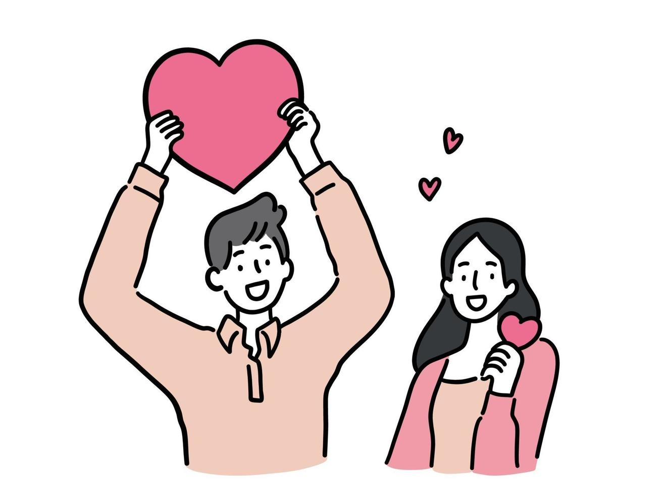 homem e mulher segurando coração, conceito de casal bonito, ilustração vetorial de estilo desenhado à mão. vetor