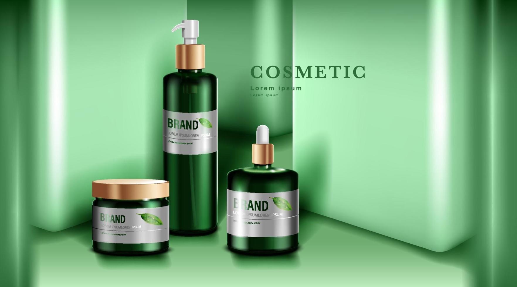 cosméticos ou produtos para a pele. maquete de garrafa verde e fundo de parede verde. ilustração vetorial. vetor