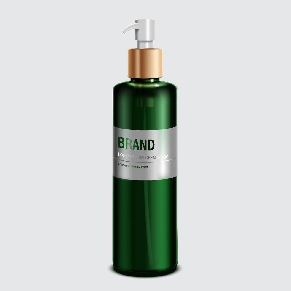 cosméticos ou produtos para a pele. maquete de garrafa verde e fundo branco isolado. ilustração vetorial. vetor