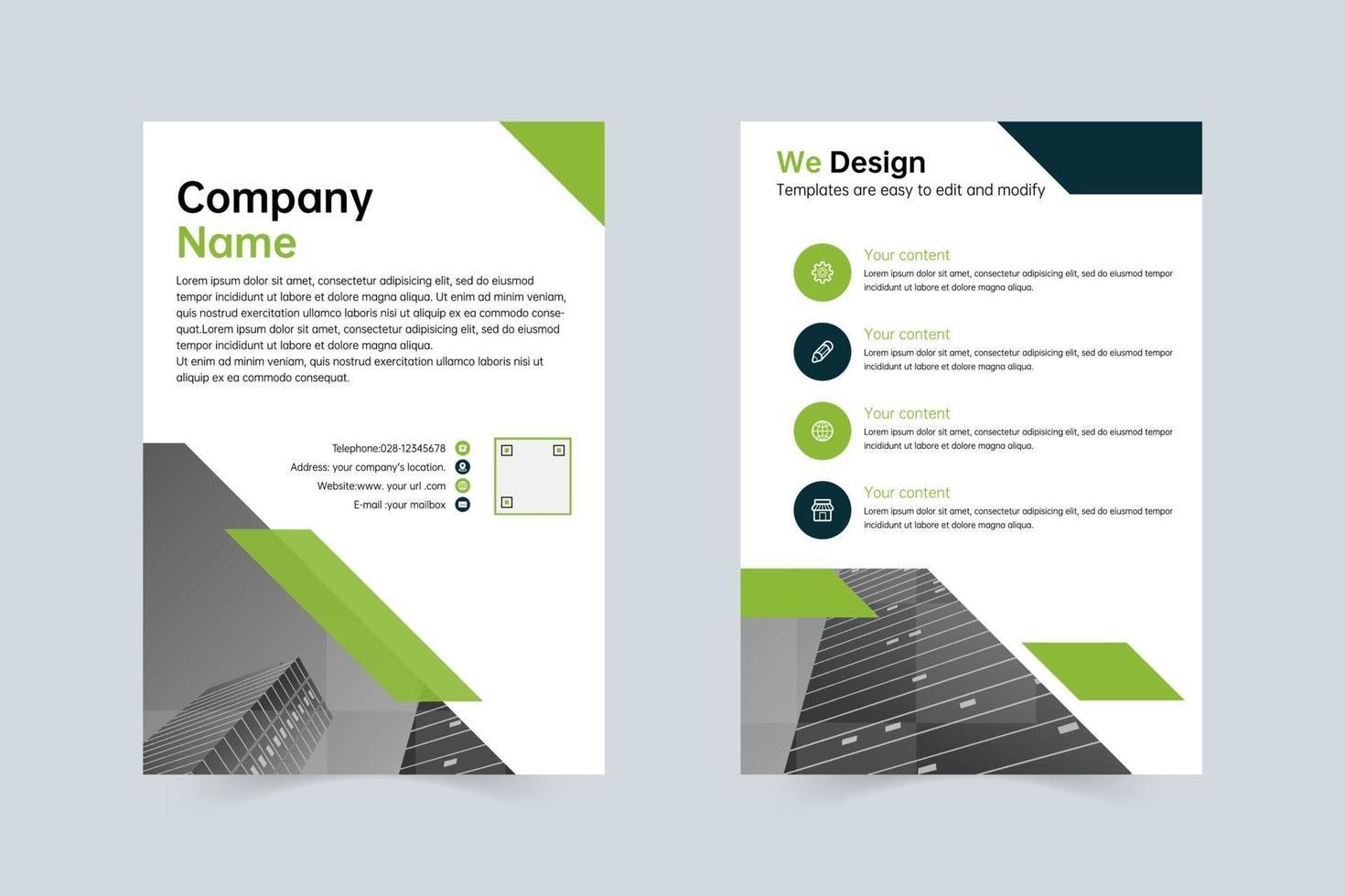 modelo verde e cinza limpo para o folheto anual da empresa vetor