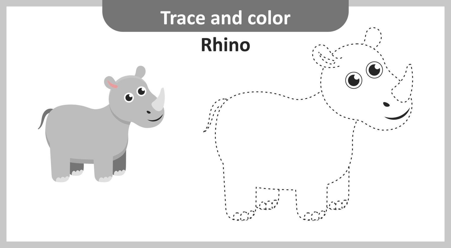 traçar e colorir o rinoceronte vetor