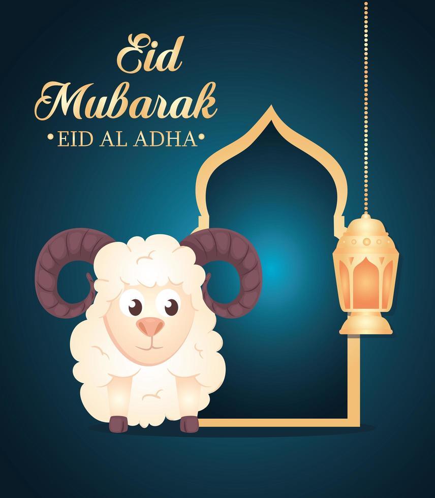 celebração do festival da comunidade muçulmana eid al adha cartão com ovelhas e lâmpada pendurada vetor