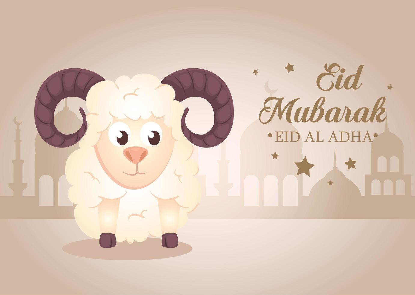 Celebração eid al adha mubarak com ovelhas vetor
