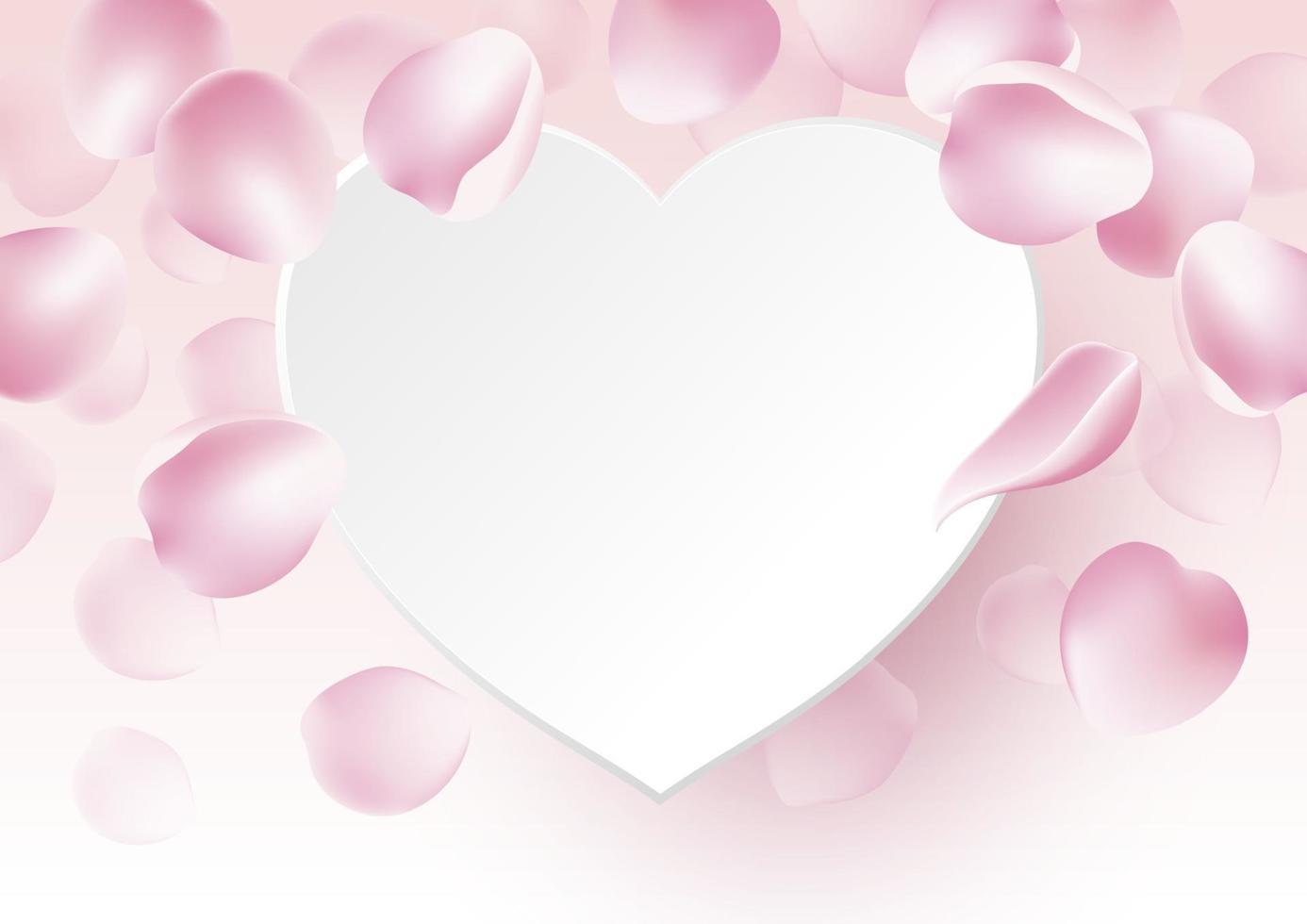 pétalas de rosa caindo com coração de papel em branco na ilustração vetorial de fundo rosa vetor