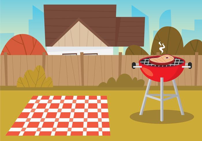Ilustração de churrasco de quintal vetor