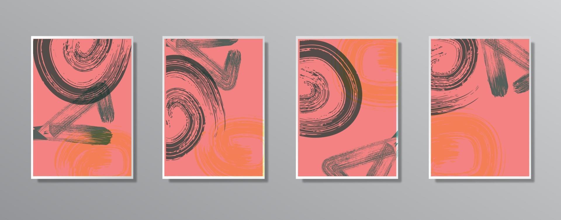 conjunto de ilustrações de cores neutras vintage desenhadas à mão minimalista criativa, para a parede. para cartão-presente, pôster em modelo de pôster de parede, página de destino, interface do usuário, ux, capa, baner, vetor