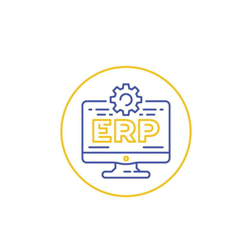 ícone do software erp com computador, linear.eps vetor