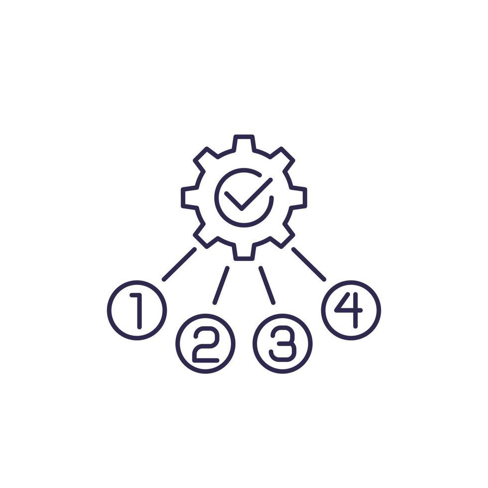 otimização de processo, ícone de linha, vector.eps vetor