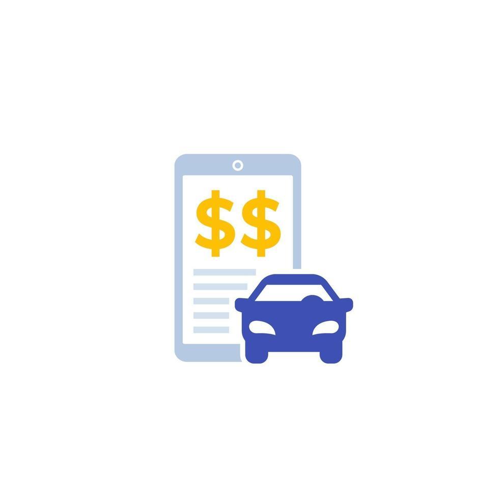 custos de transporte, ícone de vetor com smart phone.eps
