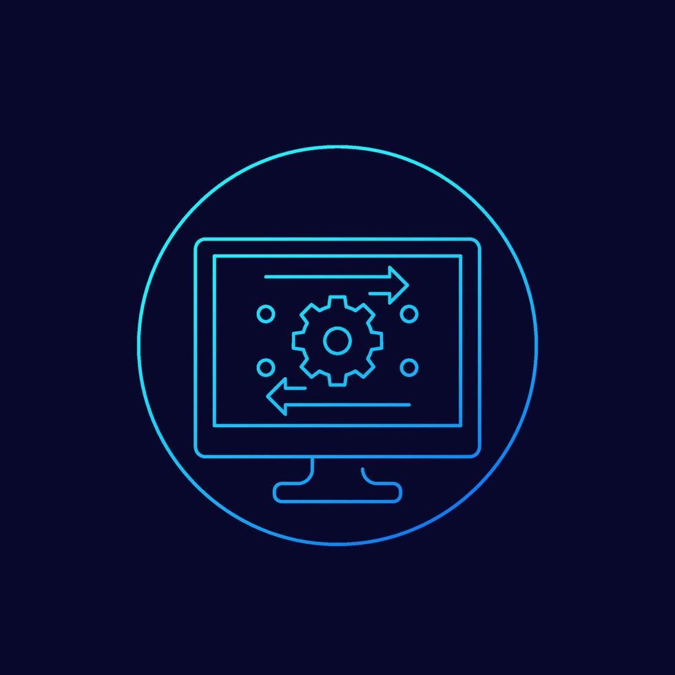 automação, otimização de software vector linear icon.eps