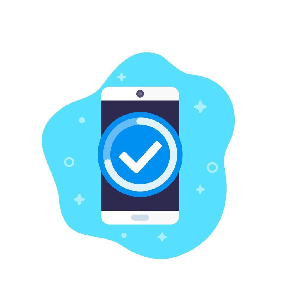 ícone de progresso concluído com phone.eps vetor