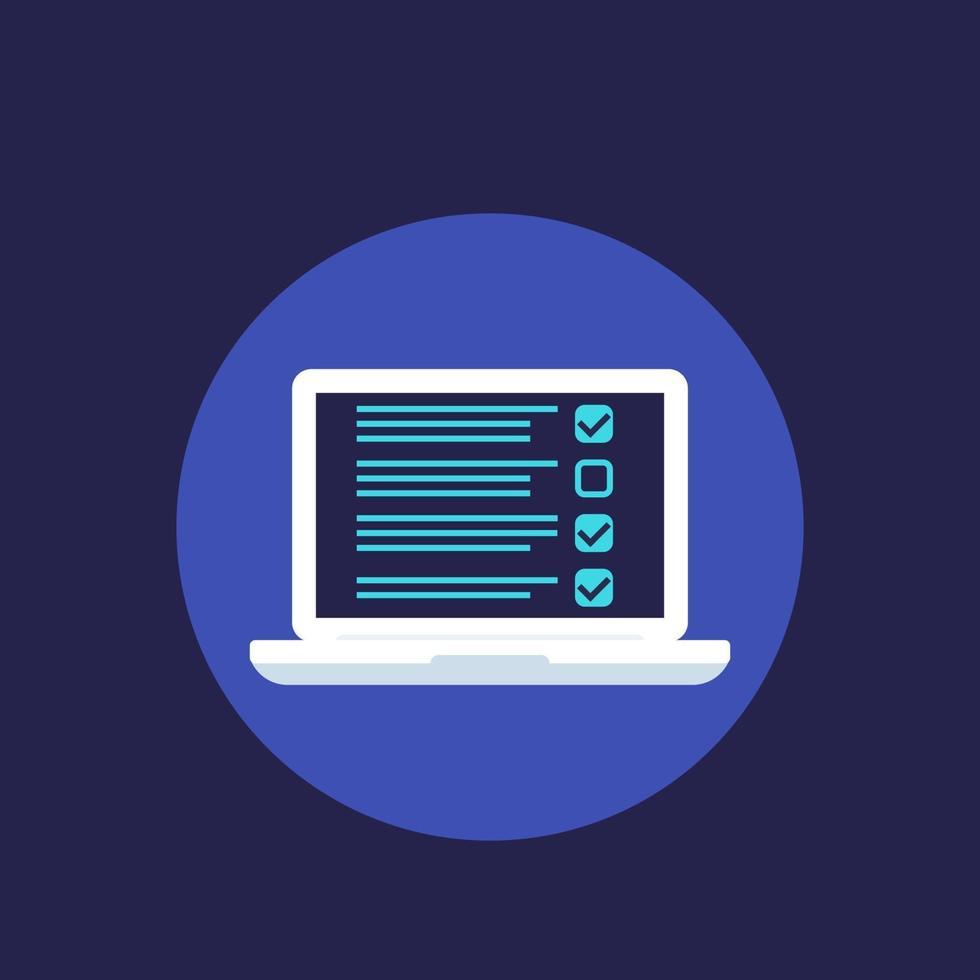 formulário de pesquisa online ou lista de verificação no laptop, vector.eps vetor