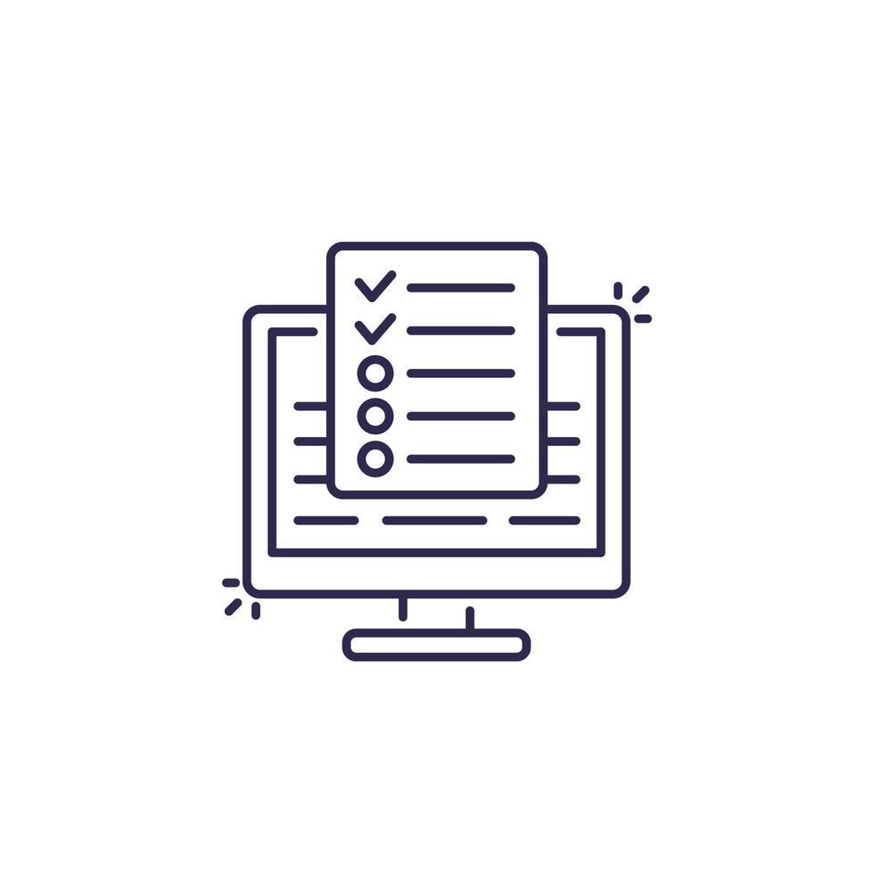 pesquisa online, linha de vetor de teste icon.eps