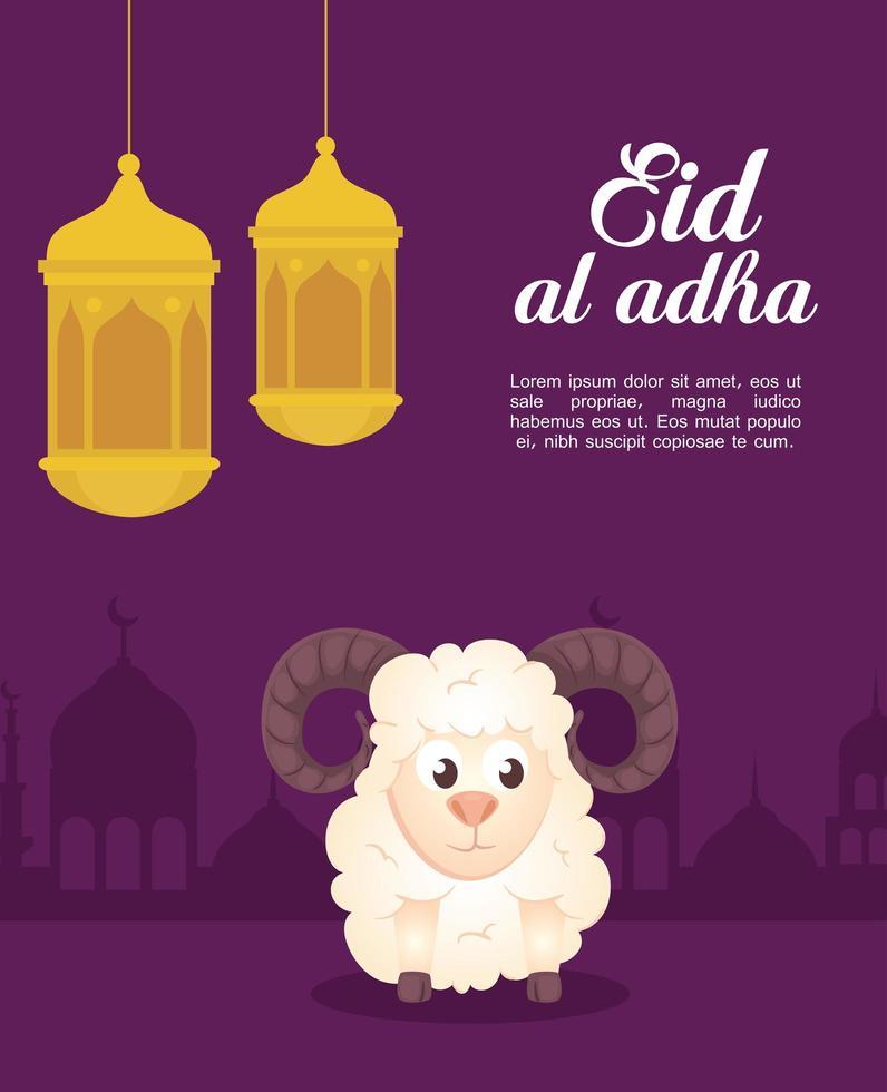 Celebração eid al adha mubarak com ovelhas e lanternas penduradas vetor
