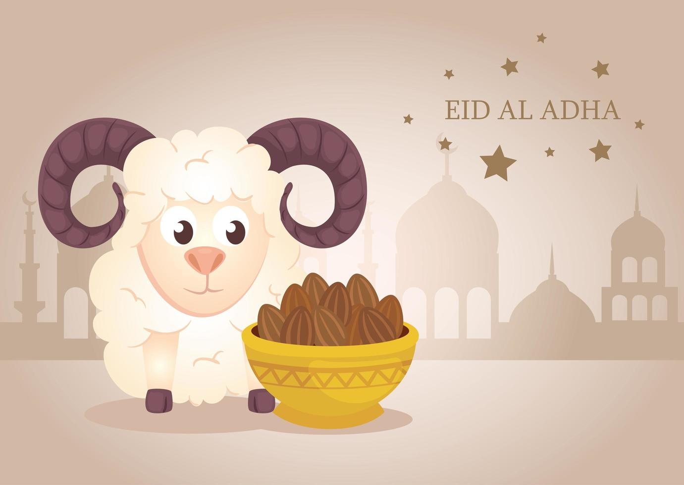Celebração eid al adha mubarak com ovelhas e uma tigela de tâmaras vetor