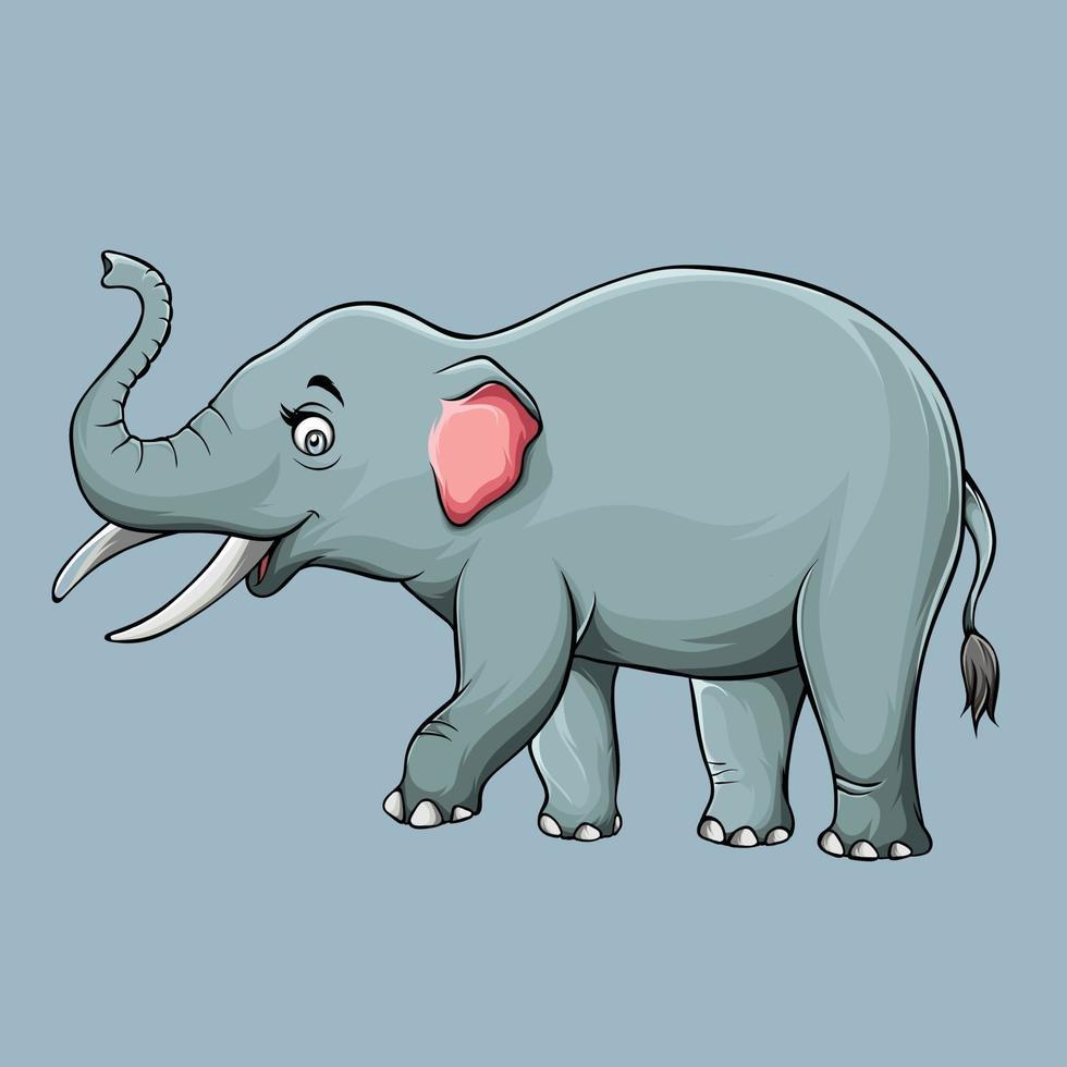 bela ilustração de um elefante fofo, desenho em alta qualidade e sombras. vetor