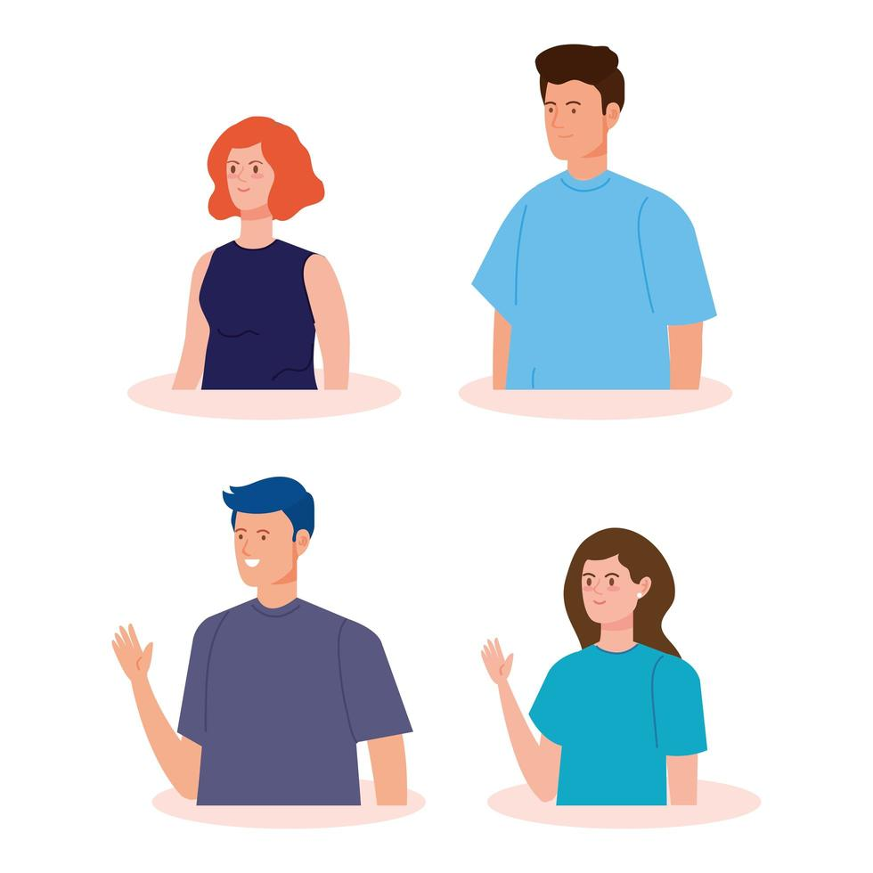 personagens de avatar de jovens vetor