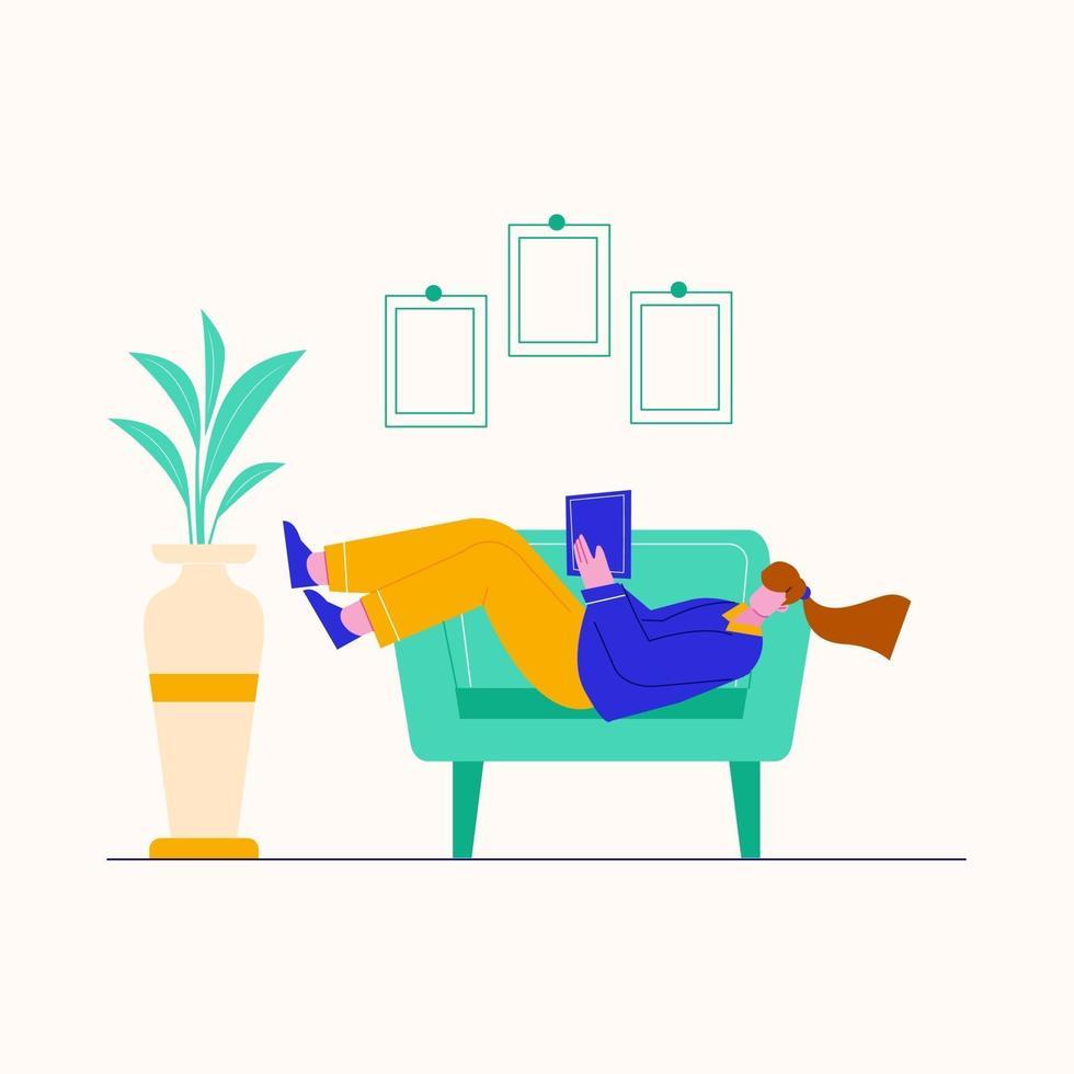ilustração de jovem lendo um livro no sofá em casa. Estudo em casa. vetor