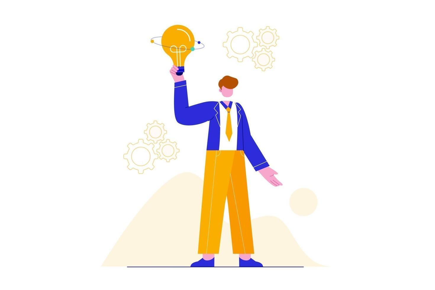 ilustração do conceito de inspiração de ideia. implementação de brainstorming. negócios com inovação e criatividade. vetor